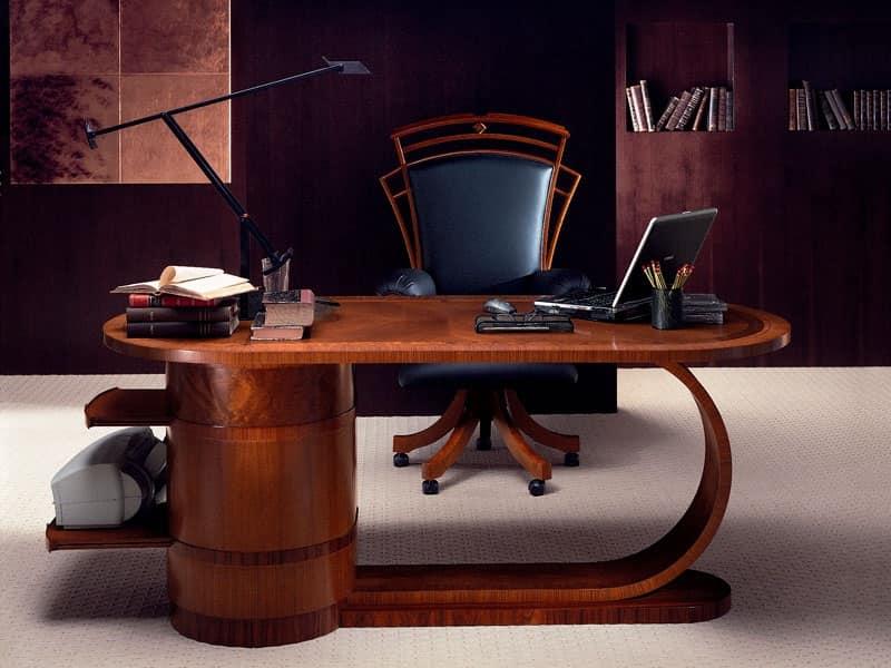 Scrivania in legno con ripiani estraibili in stile - Scrivanie legno design ...