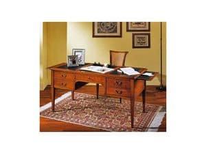 Scrivania classica Adelaide, Scrivania in legno di ciliegio, per studi e uffici