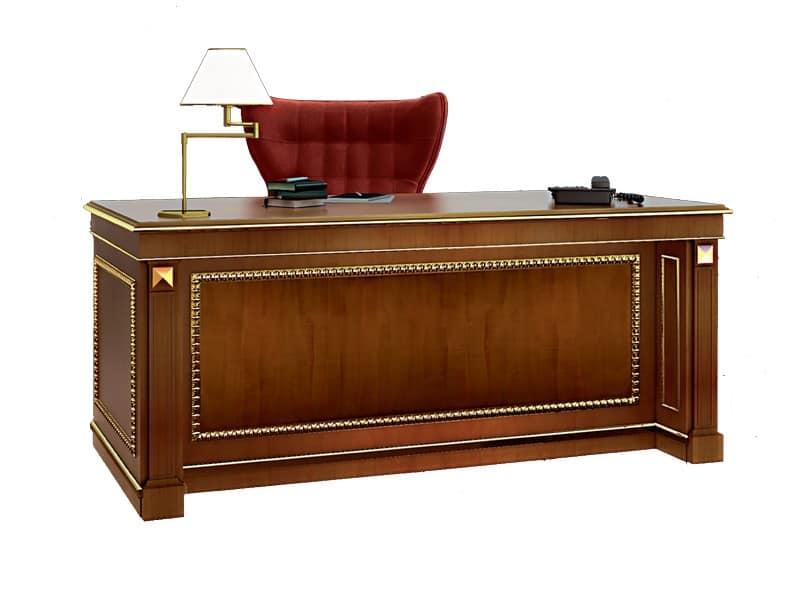Scrivania in legno intarsiato per ufficio idfdesign - Scrivanie legno design ...