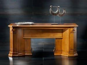 Victoria Art. 03.801, Scrivania in ciliegio con 2 ripiani estraibilie e piano in pelle