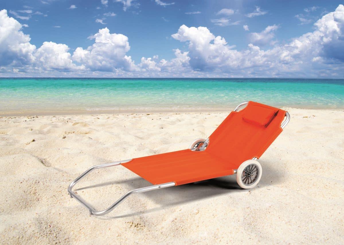 Sdraio Con Ruote Da Spiaggia.Lettino Da Spiaggia Con Ruote E Cuscino Idfdesign