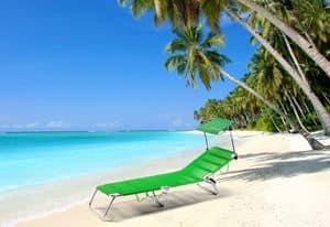 Lettino spiaggia pieghevole Cancun - CA800UVA, Brandina pieghevole con tettuccio per la spiaggia