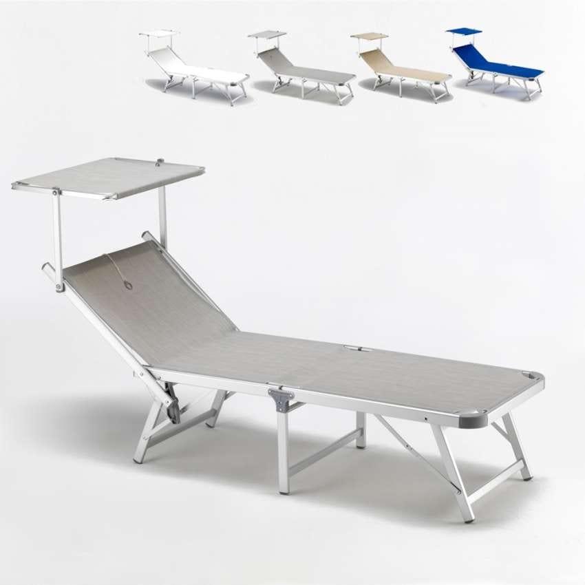 Sdraio in tessuto con struttura in alluminio con for 3 piani di design da spiaggia