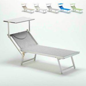 Lettino prendisole professionale Italia � IT100TEX, Sdraio con tettuccio per spiagge, piscine e hotel