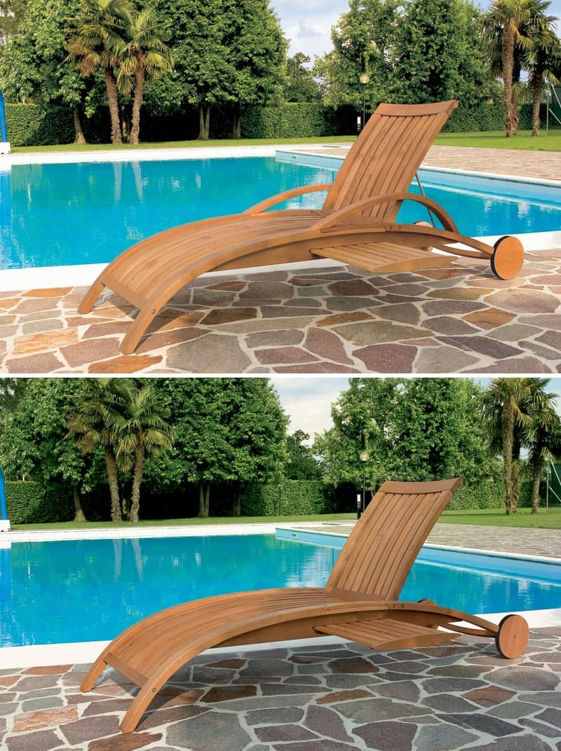 Lettino per piscina e giardino motivo a doghe verticali idfdesign - Lettini piscina ...