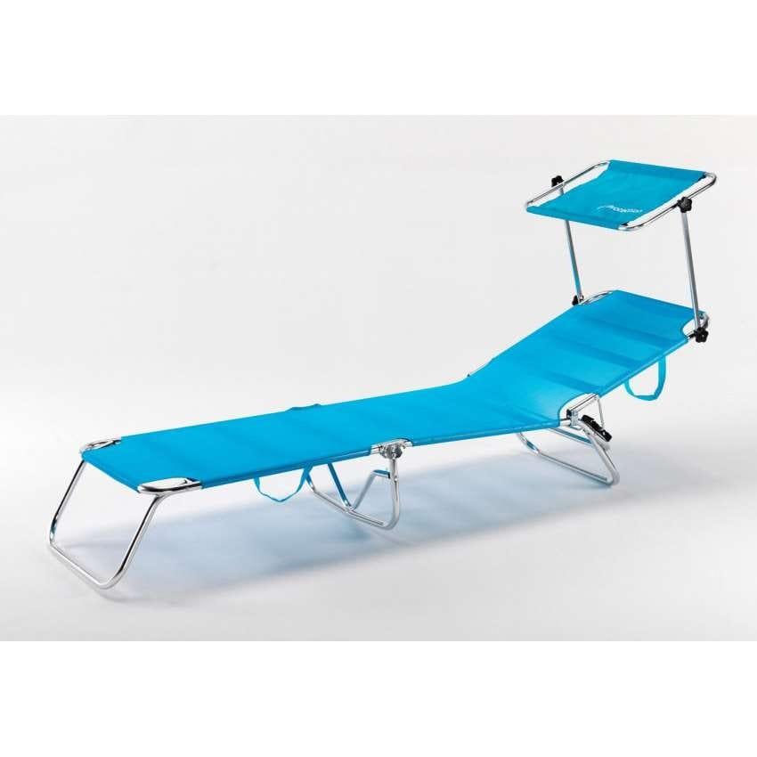 Lettino mare brandina pieghevole alluminio spiaggia piscina CANCUN - CA800UVAA, Lettino mare pieghevole con tettuccio parasole