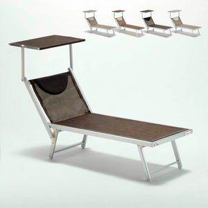 Lettino mare prendisole sdraio alluminio spiaggia Santorini Limited Edition - SA800TEXL, Lettino mare in alluminio e tessuto