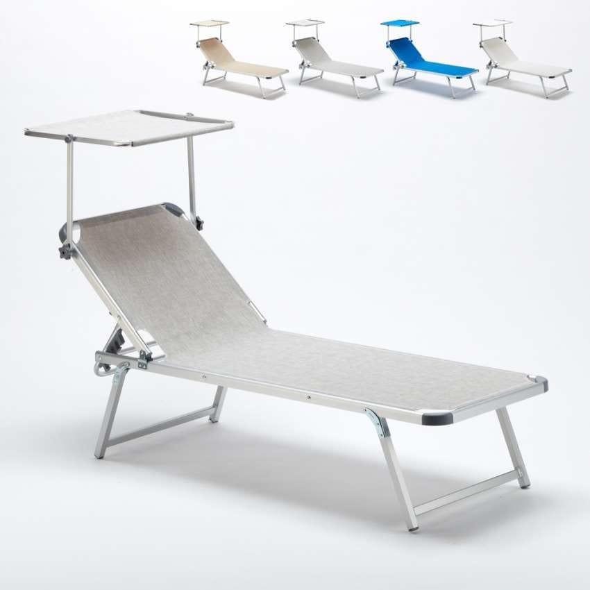 Lettini Da Spiaggia Alluminio.Lettino Per Spiaggia Con Tettuccio Regolabile Idfdesign