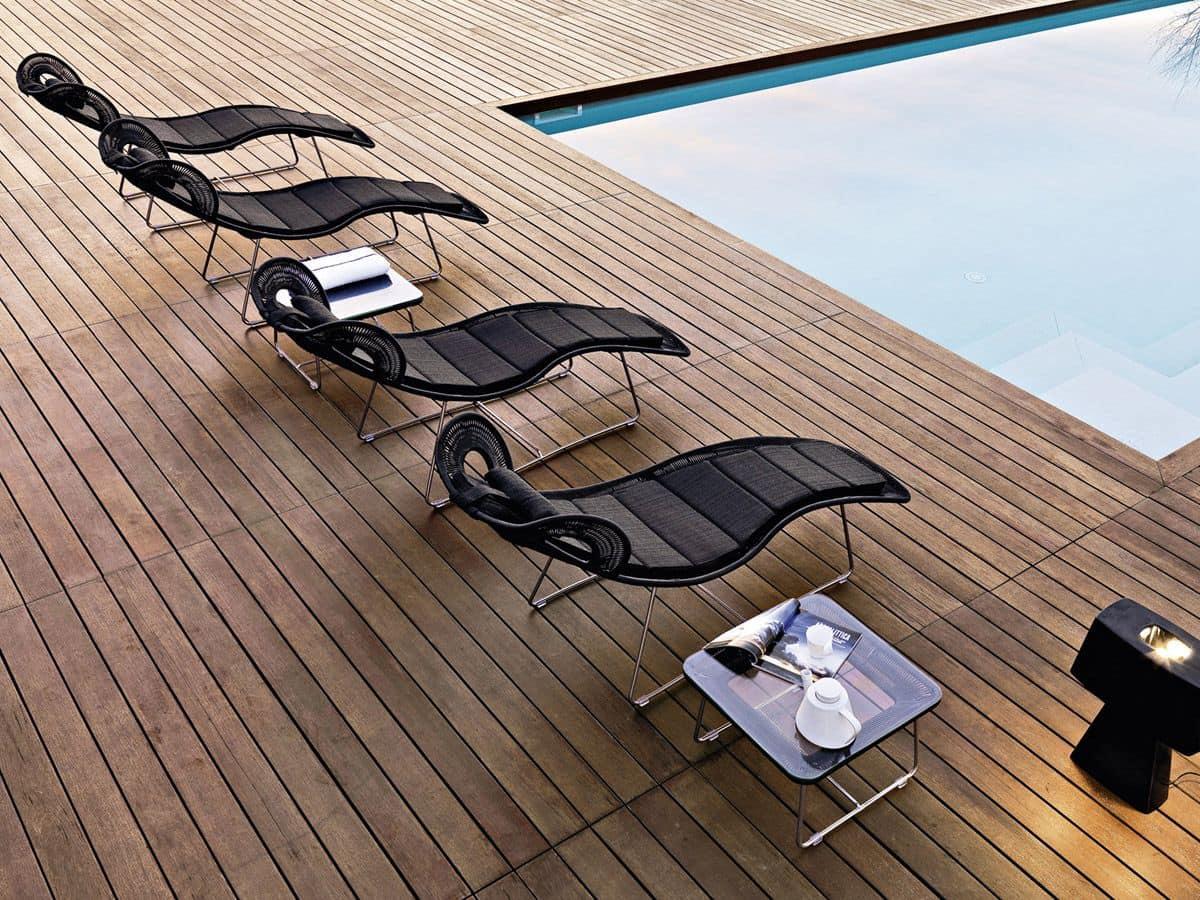 Lettino prendisole per piscina intrecciato in fibra sintetica idfdesign - Lettini piscina ...
