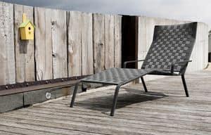 Rest Chaise Lounge, Lettino prendisole impilabile in alluminio e poliestere