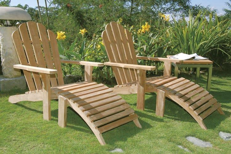 Riviera 502, sedia sdraio in legno di teak con poggiapiedi - IDFdesign