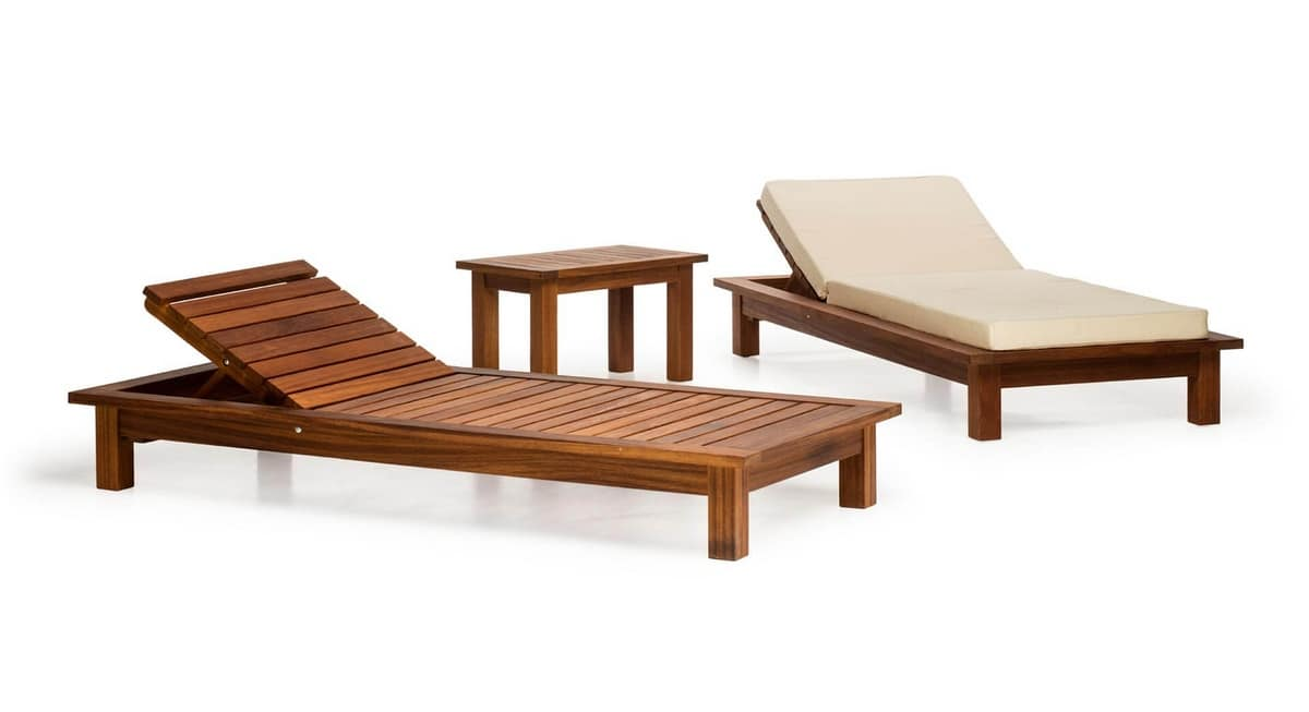 Sorrento/lt, Lettino per esterno, in legno, per giardini, piscine, terrazze