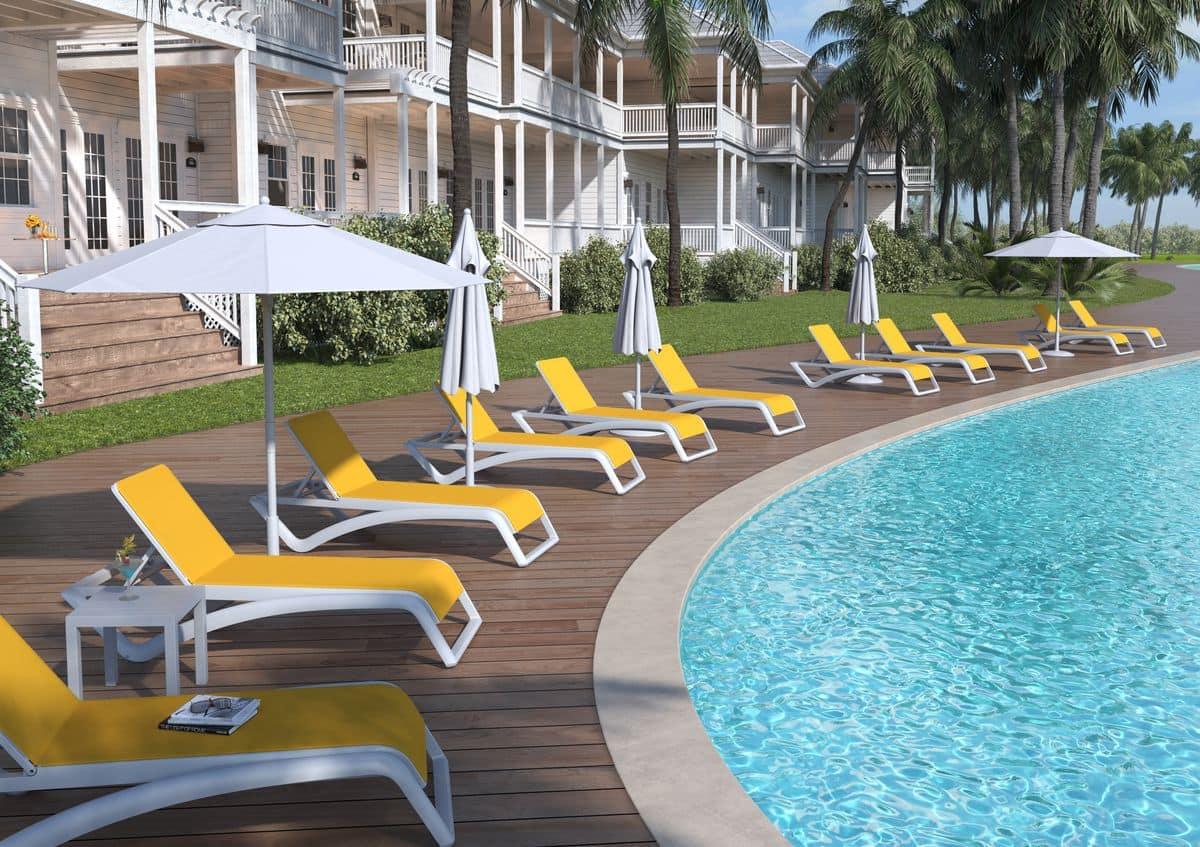 Lettino da piscina impilabile con ruote in vari colori idfdesign - Lettini piscina ...