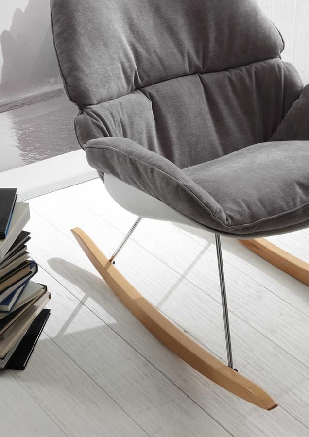 Sedia a dondolo, in metallo legno e polipropilene | IDFdesign