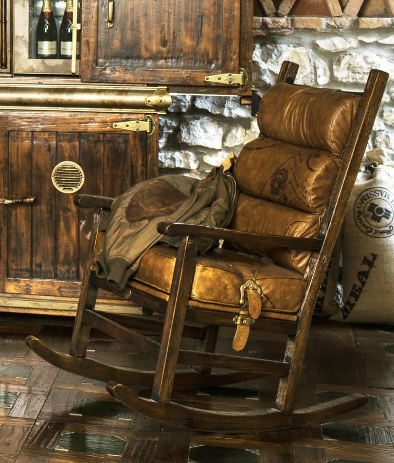Sedia a dondolo imbottitura in pelle di vitello idfdesign - Sedia dondolo design ...