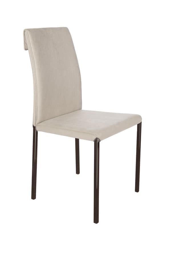 Borso cromo nero, Sedie pelle metallo per bar, sedia moderna per la casa