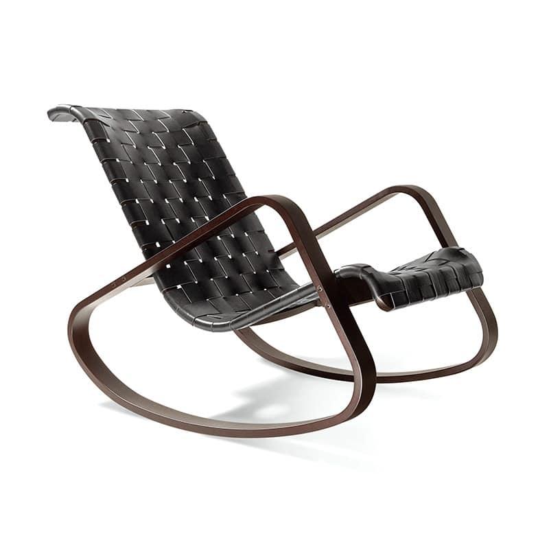 sedia a dondolo in legno scocca in cuoio intrecciato ForSedie A Dondolo