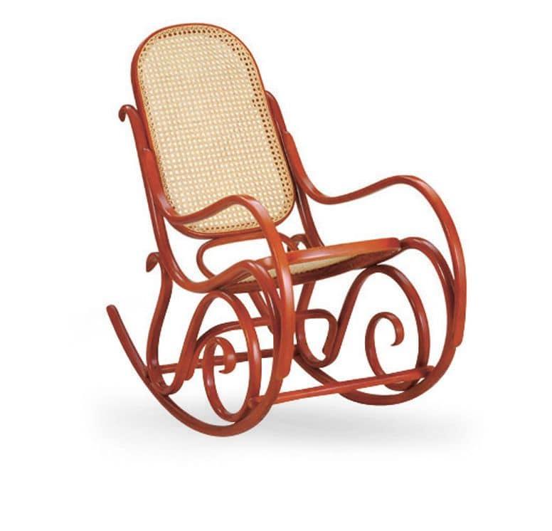 Sedia A Dondolo In Legno Schienale E Seduta In Canna