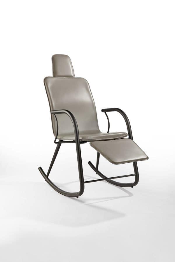 Sedia a dondolo in acciaio con poggiapiedi per salotto idfdesign - Sedia a dondolo design ...