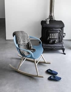 Elephant Rocking Chair, Sedia a dondolo con base in massello e scocca in poliuretano