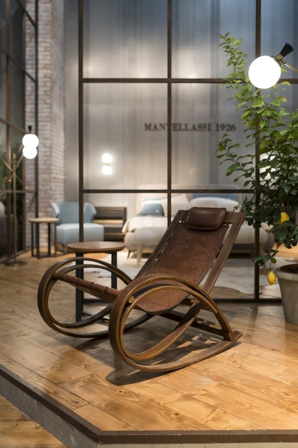 Sedia a dondolo in legno finitura corten con seduta in pelle idfdesign - Sedia a dondolo design ...