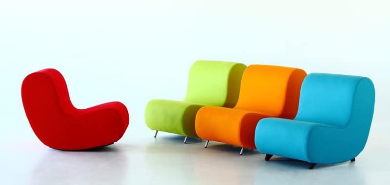 Simple rocking chair, Poltrona a dondolo, seduta tappezzata in espanso ignifugo, componibile