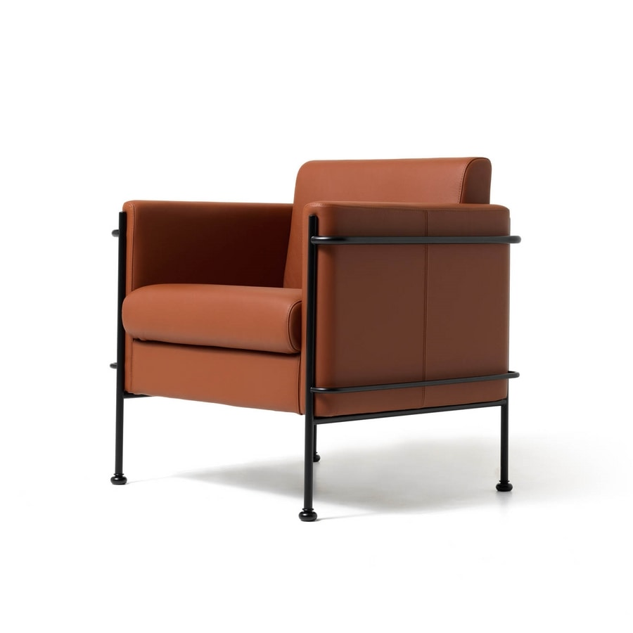 Poltrona imbottita telaio a vista in acciaio per soggiorno idfdesign - Poltrone moderne design ...