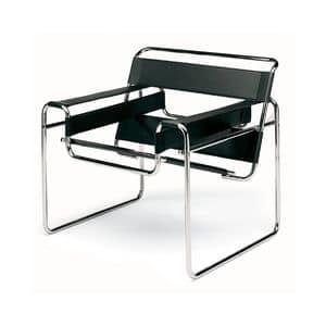Wassilly, Poltrona moderna, struttura in acciaio, seduta e schienale in pelle