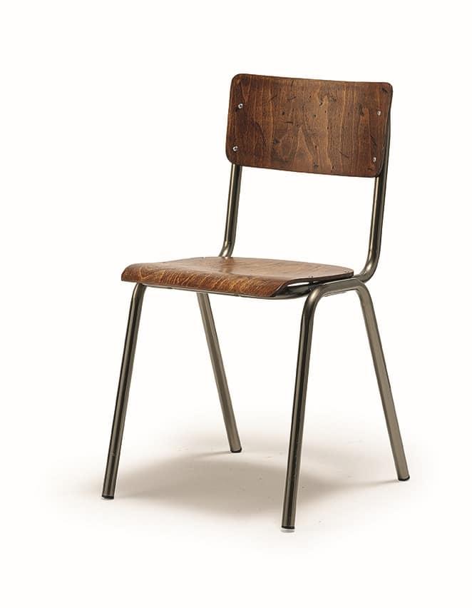 Sedie Metallo E Legno.Sedia In Metallo Con Seduta E Schienale In Legno Per Chiese Idfdesign