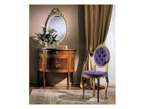 3290 SEDIA OVALINO, Sedia in legno imbottita, stile classico di lusso