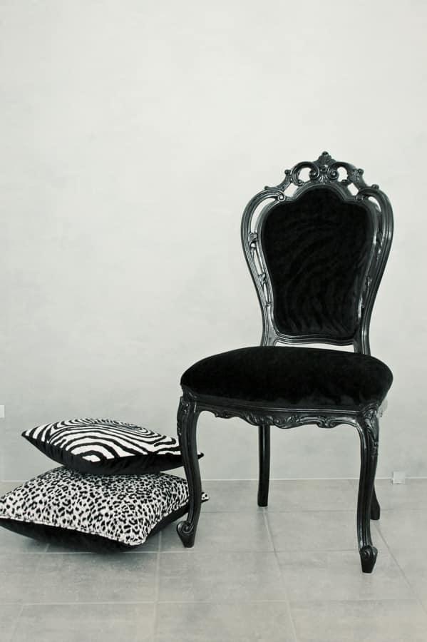 Sedia color nero lucido dallo stile classico di lusso for Sedie contemporanee