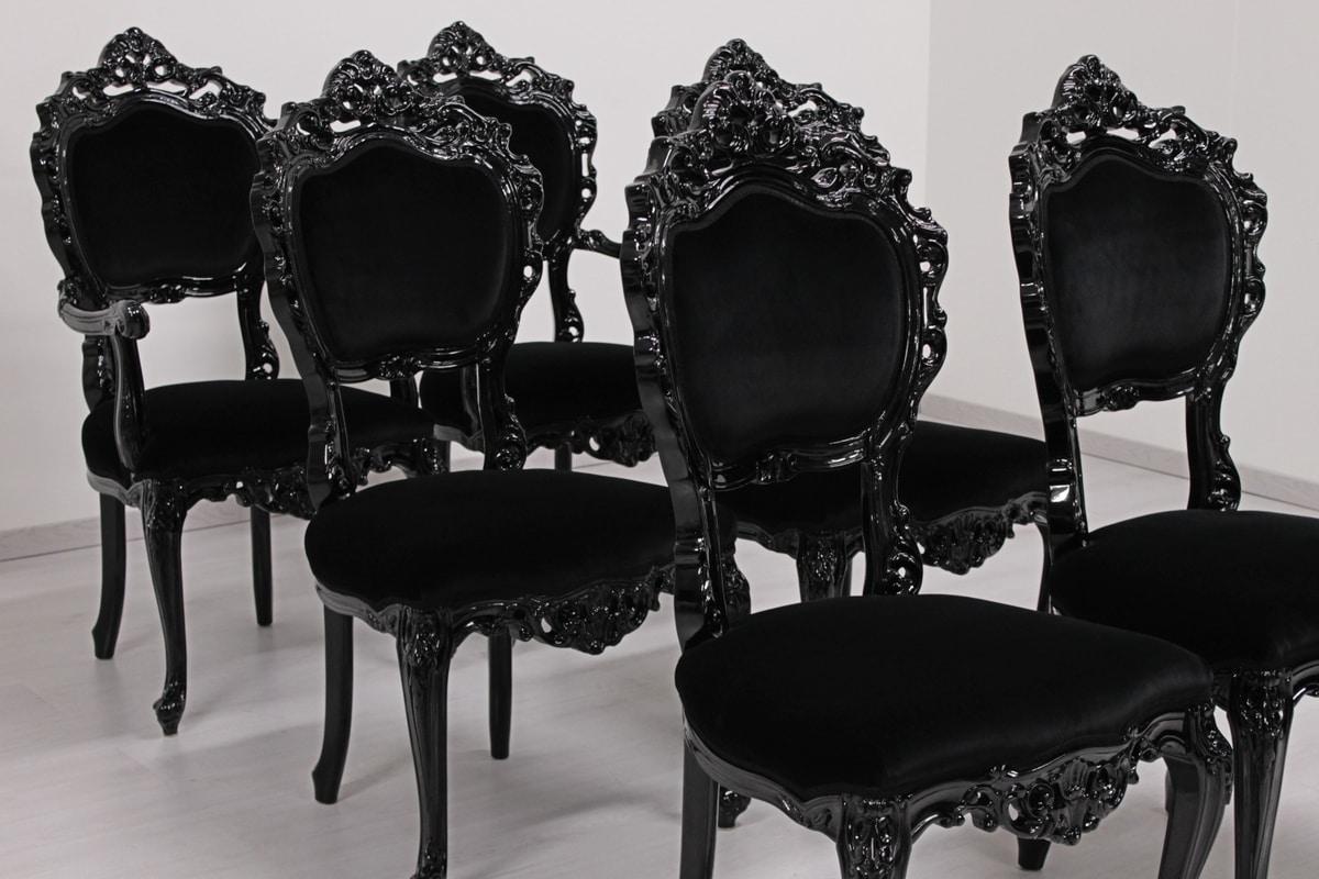Sala Da Pranzo In Stile Barocco Con Tavolo Sette Sedie E Mobile Nelle  #83484D 1187 952 Sala Da Pranzo Stile Barocco Moderno