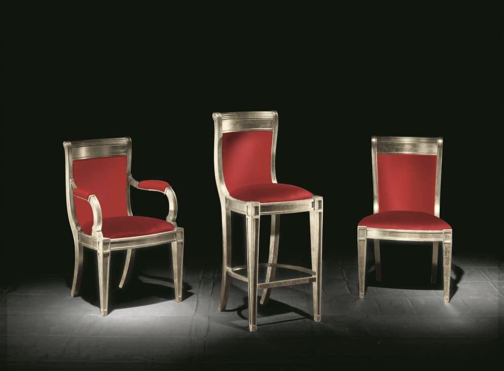 Sedia classica con braccioli per alberghi e sale da pranzo for Sedie imbottite per sala da pranzo
