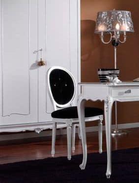 3620 SEDIA, Sedia laccata bianca, sedile capitonnè, per sala da pranzo