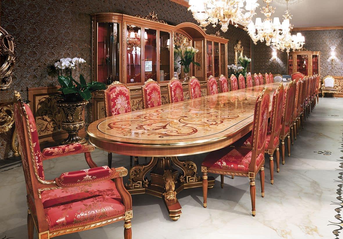 Sedia Classica In Legno Per Sala Da Pranzo Finiture Foglia Oro  #9C2F35 1181 822 Cuscini Per Sedie Sala Da Pranzo