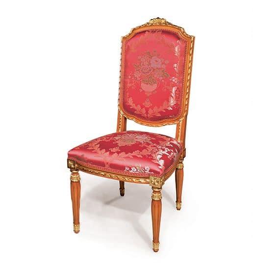Sedia classica in legno per sala da pranzo, finiture foglia oro ...