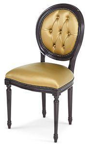 603, Sedia in legno con schienale capitonnè ovale