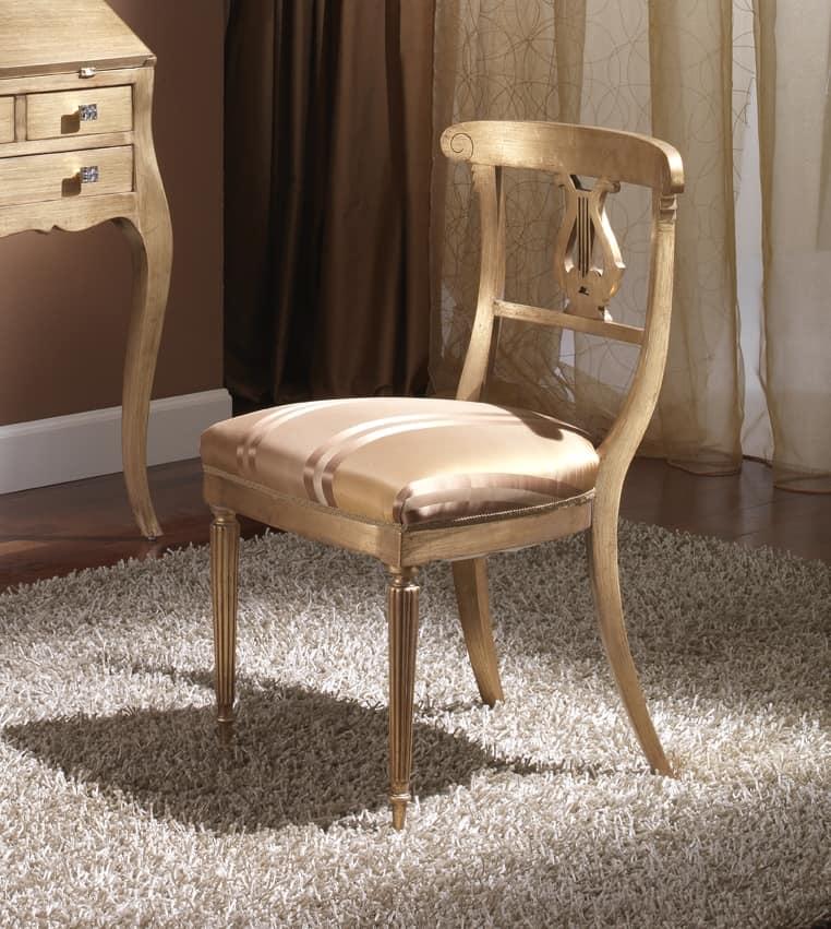 712 SEDIA, Sedia in legno con seduta imbottita, in stile Impero