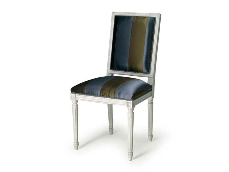 Art.102 sedia, Sedia da pranzo imbottita, stile Luigi XVI
