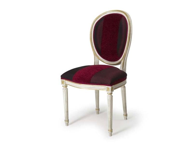 Sedia con schienale imbottito ovale stile luigi xvi for Sedie da cucina imbottite