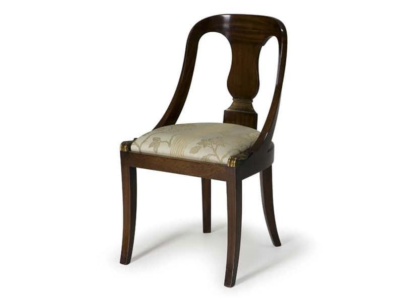 Art.132 sedia, Sedia in legno in stile classico, per ristoranti e hotel