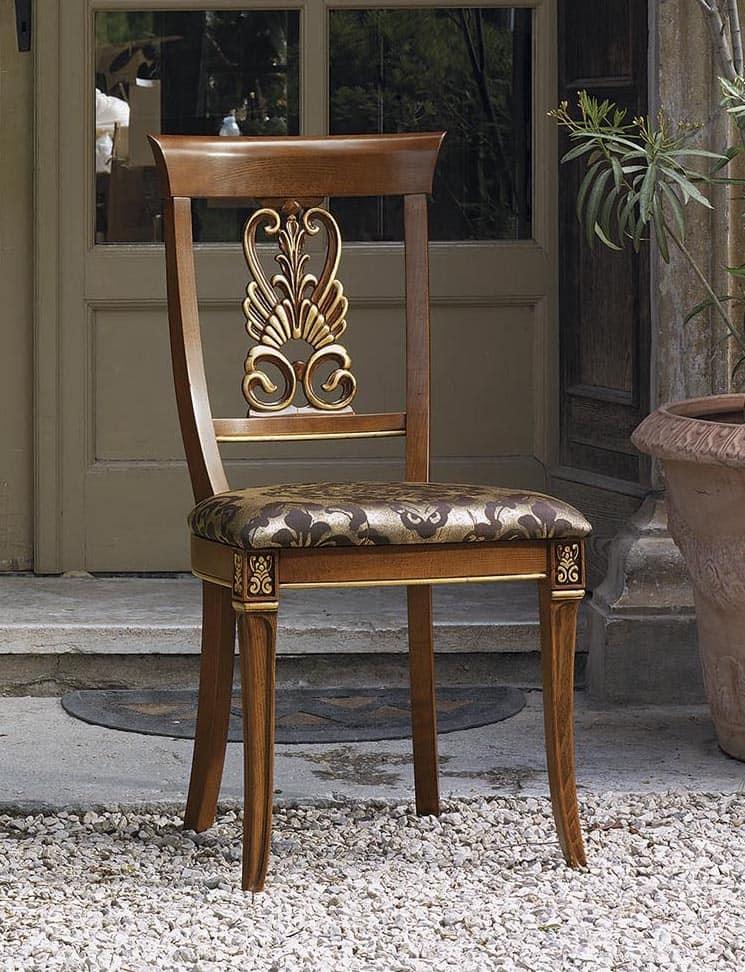 ... . 1733 Vivaldi, Sedia classica in legno intagliato, seduta imbottita