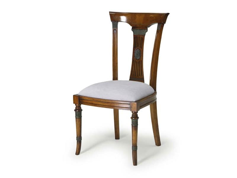 Sedia da pranzo, seduta imbottita e schienale in legno  IDFdesign