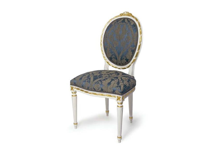 Art.439 sedia, Sedia imbottita con schienale ovale, stile Luigi XVI