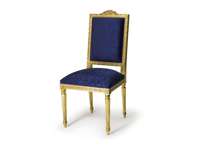 Art.441 sedia, Sedia imbottita in stile Luigi XVI, in legno di faggio