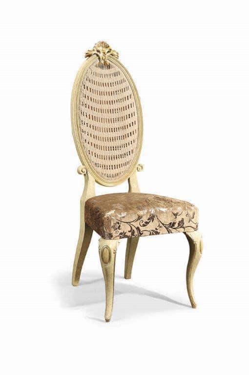 Sedia classica in legno intagliato e paglia di vienna for Sedia design paglia di vienna