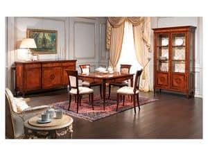 Art. 962 tavolo e sedie, Prezioso tavolo, con intarsi, finitura noce antiquariato