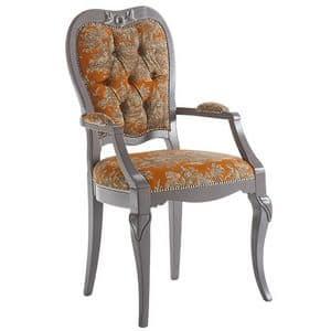 Art. AX109, Sedia classica in legno, con braccioli seduta e schienale imbottiti