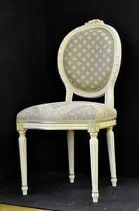Art. L-792, Sedia con struttura in legno, seduta e schienale imbottiti e ricoperti di tessuto, arricchita da decori floreali