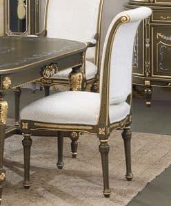 Art. L-901 K, Sedia in legno, laccata craquel� nero su fondo oro, seduta e schienale imbottiti, per ambienti classici